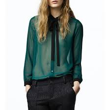 shirts and blouses green chiffon bowtie lapel sleeve single breasted blouse
