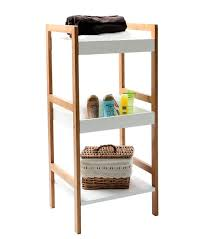 Free Standing Bathroom Shelves Gloss White Bamboo Shelving Unit 3 Tier Home Storage Systems