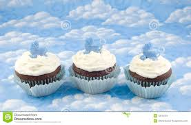 three baby shower cupcakes for boy stock photos image 12012133