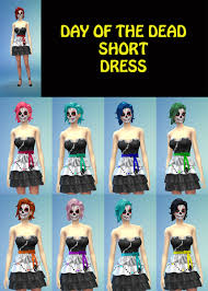 mod the sims short day of the dead dress for teens to elder