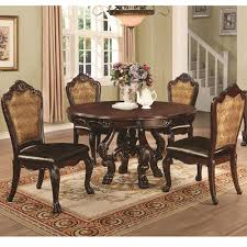 5 pc round pedestal dining table benbrook 5 pc round pedestal dining table set in dark cherry world
