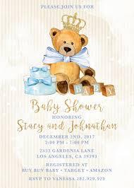 teddy baby shower royal teddy baby shower teddy invitation blue and