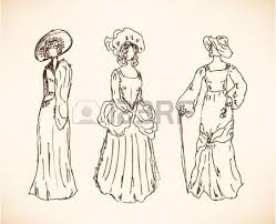 sketch of woman in historical ball dress lady in vintage dress