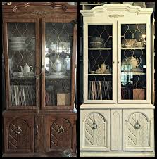 an unattractive 60s 70s china cabinet changed up with a bit of