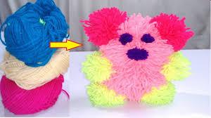 diy pom pom teddy bear art and crafts for kids craft ideas youtube