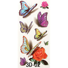 6pcs styles s 3d diy stickers glitter temporary tattoos