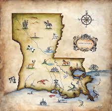 Map Of Louisiana Purchase Louisiana Map Painting By Judy Merrell