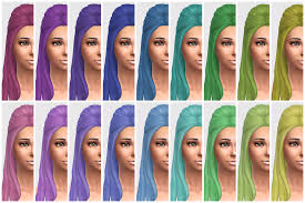 custom hair for sims 4 all yf default hairs retextured in 45 colors vicarious living
