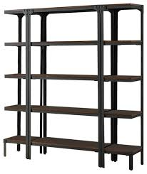 Industrial Bookcases Antique Walnut Wood U0026 Metal 12 Tier Shelf Bookcase Storage