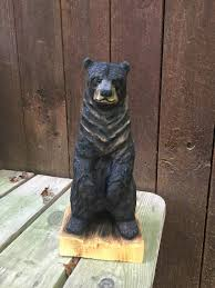 Black Bear Decorations Home Bear Wood Carving Chainsaw Carving Handmade Woodworking Wood