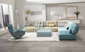Blue Floor L Furniture Modern Living Room With L Shaped Cozy Sectional