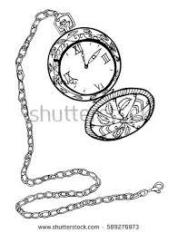 clock hand drawn vintage pocket watch stock vector 589276973