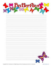butterfiles printable lined writing paper