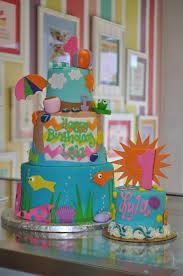 fun in the sun girly beach birthday first birthday smash cake