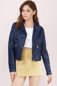 hooded motorcycle jacket navy jacket moto jacket faux leather jacket blue jacket 17