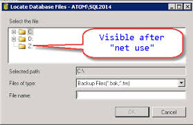 use map drive sql server backup on mapped drive failing with error error