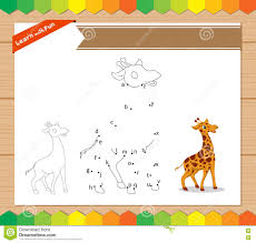 cartoon giraffe dot to dot educational game for kids worksheet