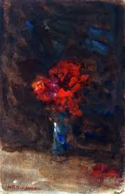 Red Flowers In A Vase Red Flowers In A Blue Vase By Hercules Brabazon Brabazon
