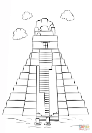 tikal temple coloring page free printable coloring pages