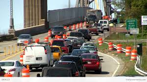 bridge traffic merge construction cape cod 4 stock video footage