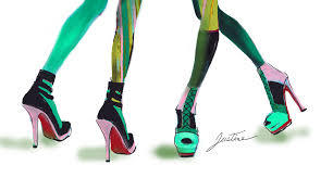 drawn heels fashion shoe pencil and in color drawn heels fashion