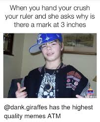 High Quality Memes - when you hand your crush your ruler and she asks why is there a mark