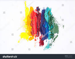 abstract rainbowlike oil painting made palette stock photo