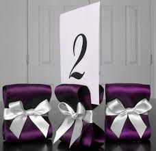 eggplant ribbon table number holders wedding decor ten 10 with eggplant and