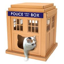 dr who tardis cardboard cat house is sustainable cat bed