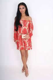 sadie u0026 red floral mesh off the shoulder long sleeved mini