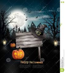 black scary halloween background scary halloween background with a wooden sign stock vector