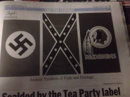 a swastika a confederate flag and the washington redskins logo