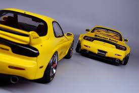 rocket bunny rx7 ignition model 1 18 mazda rx 7 fd3s rocket bunny yellow mazda