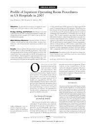 profile of inpatient operating room procedures in us hospitals in