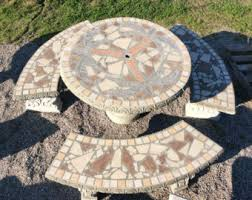 Concrete Patio Tables And Benches Picnic Tables Cement Statues Outdoor Tables Mosaic Mosaic