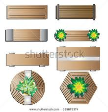 Wooden Bench Plan Outdoor Furniture Bench Top View Landscape Stock Vector 335679374