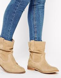 womens boots uk asos asos aloof suede pull on ankle boots in lyst