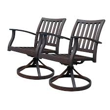 Swivel Rocking Chairs For Patio Shop Allen Roth Gatewood 2 Count Brown Aluminum Patio Dining