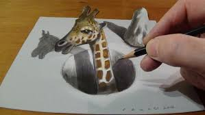 Giraffe Floor L Trick Drawing A Giraffe In A 3d Illusion On Paper