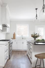 white shaker kitchen cabinets wood floors matte black pulls on white shaker cabinets transitional
