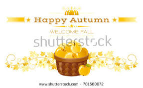 autumn apple basket greeting card harvest stock vector 701560072