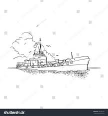 vector sketch industrial ship waves seagulls stock vector