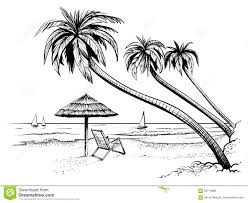 panoramic vector beach view illustration with palms and parasol