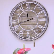 80cm wooden wall clock vintage shabby chic large open face roman