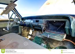 Old Abandoned Car Interior With Open Glove Box Stock Image Image