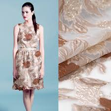 Summer Weight Garden Fabric - 145cm wide floral jacquard coffee color organza fabric for spring