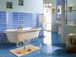 blue bathroom ideas white bathtub glass sink table standing shower