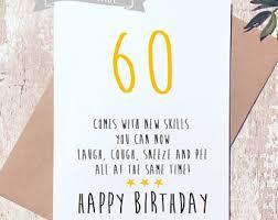 birthday cards for 60 year 60th birthday card etsy