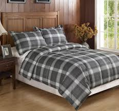 classic bedroom with light grey plaid flannel bedding sets cozy