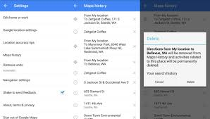 map search directions how to clear search and location history in maps on android